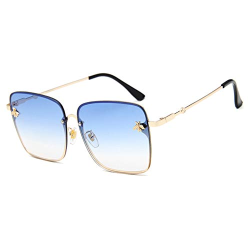Yuanz Markendesign Dame Über Größe Randlose Quadratische Sonnenbrille Frauen Kleine Biene Gläser Gradienten Sonnenbrille Für Frauen,W