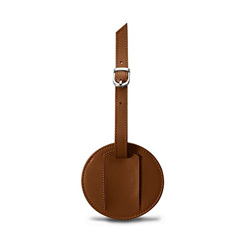 Lucrin - Etichetta per valigia rotonda (9 cm) - Grigio marrone - Pelle Liscia Cognac