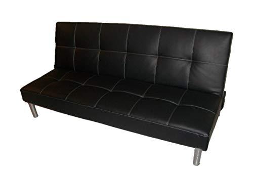 Italfrom divano letto sofa bed divani 3 posti 178 x 79 x 84 divanetti divano attesa nero - cod.2835