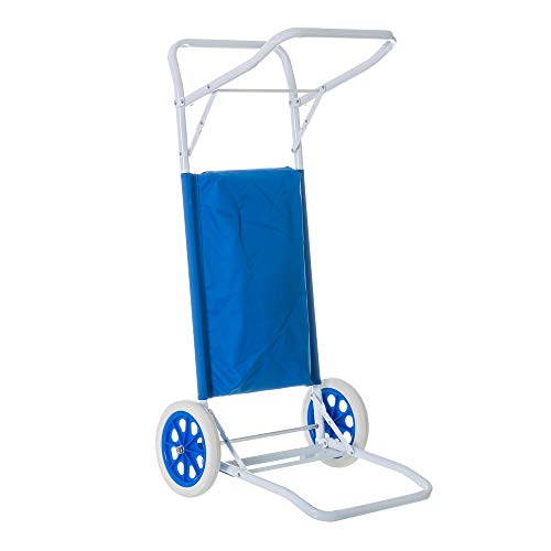Carro portasillas Plegable de Playa Azul de Acero Garden - LOLAhome