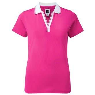 Footjoy Ladies Stretch Pique Open V-Neck Polo Shirt - Ladies Pink/White Large