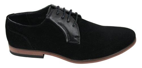 Hommes Noir Brun lacets intelligents formelles Souliers Faux suède et en cuir doublé Noir