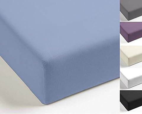 Parure de lit/ drap-housse uniforme réversible Mistral Home en percale élégante 100% coton égyptien, Coton, Soft Blue, 140x200cm Spannbettlaken