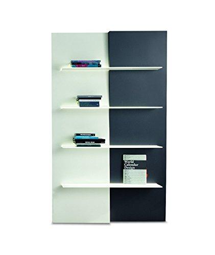 BONALDO libreria Up and down bianca grigio vetro di design moderno per sala d656