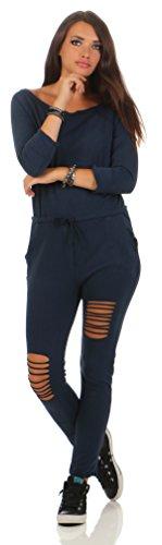 Mr.Shine Damen Langarm Hosenanzug Jumpsuit Damen Elegant Lang Hosen Trägerlos Overall S-XXXL (XXXL, Navy Blau)