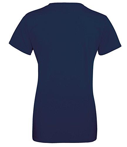 Soccer Evolution - Fußball Evolution - Football Evolution - Damen Rundhals T-Shirt Navy/Weiss-neongelb