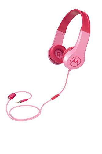 Motorola Squads 200 - Kabelgebunder Kinderkopfhörer - Begrenzter Lautstärk mit 85 dB, Flexibel und langlebig, Gehörschutz und Musik-Sharing-Funktion, Anti-Allergie-Kissen (BPA-frei) - Rosa