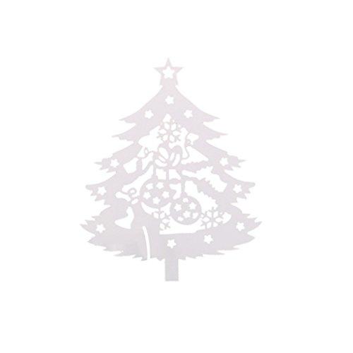Sunnimix 50pcs christmas place vetro albero di carte marchio tavolo bicchiere di vino partito decorazione rosso - bianca