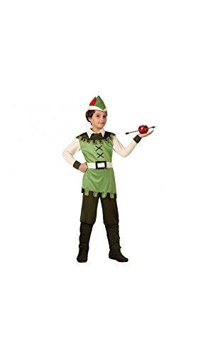 Mela Proibita - Kostüm Verkleidung Archer Karneval Kleid Kind Robin hood 4 Stück Set - grün, 3/4 Jahre