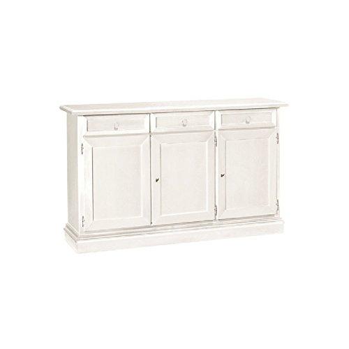 Inhouse srls credenza, arte povera, in legno massello e mdf con rifinitura in bianco opaco - mis. 156 x 42 x 85