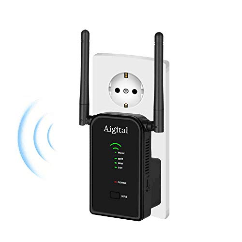Aigital ripetitore wifi, range extender/router/wireless signal amplificatore repeater 2 antenne esterne, access point mode,2.4ghz 300mbps conforme allo standard ieee802 11 n/g/b,dotato di wps