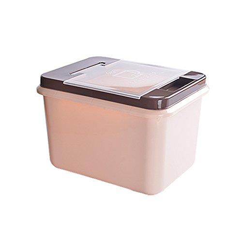 Grand café couleur rectangle en plastique hermétique riz seau 1-tier riz tasse riz pot boîte de farine garder frais 10KG et 15KG conteneur de stockage de céréales avec poignée et poulie alimentaire cuisine céréales boîte de rangement ( taille : 34cm*26cm*21cm )