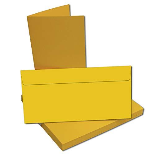 Set! Faltkarten + Umschläge DIN Lang in Honig-Gelb/ 50 Stück/Größe: 21 x 21 cm (gefaltet 10,5 x 21 cm) // 240 g/qm + 110 g/qm // Aus der Serie FarbenFroh von NEUSER! Qm-serie