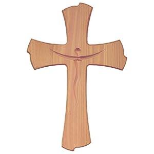 Kaltner Pr/äsente Geschenkidee 18 cm Wandkreuz Echtes Holz Kreuz aus Fichte Kruzifix mit Taube f/ür die Wand modern gefertigt im Gr/ödner Tal S/üdtirol