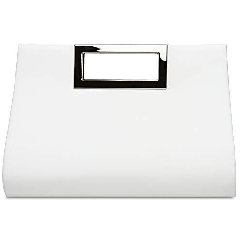 CASPAR TA408 elegante Damen XL Clutch Tasche/Abendtasche / Umhängetasche mit langer Kette, Farbe:weiss, Größe:One Size