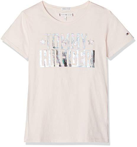 Rosa Raglan Tee (Tommy Hilfiger Mädchen FOIL Logo Tee S/S T-Shirt, Rosa (Barely Pink 617), 92 (Herstellergröße: 74))