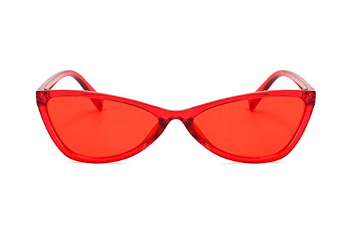 WSKPE Sonnenbrille Cat Eye Sonnenbrille Damen Schirme Gläser Uv 400 Roter Rahmen Rote Linse