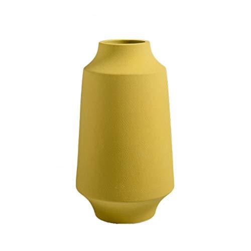 C-J-Xin Nachttisch Vase, Keramik Gelb Home Wohnzimmer Schlafzimmer Vasen TV Schrank Weinkühler Vasen mit Blumen Couchtisch Vase Dekor Vasen (Size : 14 * 26CM) (Blumen Vase Mit Hocker)