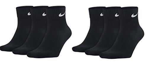 6 x Nike Sneaker Sport Knöchel Socken schwarz Quarter (L = 42-46)