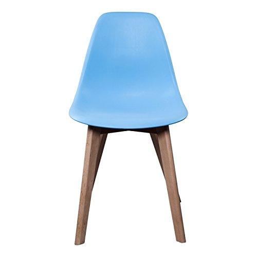 Coque plastique bleu Designer Chaise Copenhagen avec jambes en bois bol Fauteuil