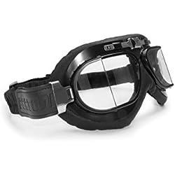 BERTONI Gafas Moto - Mascara en Piel Negra de Cuero de Becerro - Barón Rojo AF193L - Gafas Motoristas Vintage para Cascos Moto Harley y Chopper