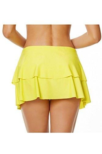 Labelar Frauen Baderock Strandrock Badeshorts Schwimmrock Bikinirock Einfarbig Elegant Schwimmen Gelb