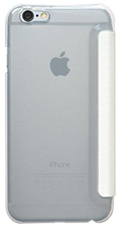 Schutzhülle Hülle Flip Cover Case Tasche für iPhone 6 mit Sichtfenster und transparenter Rückseite matt / in Weiß weiss von OKCS Weiß
