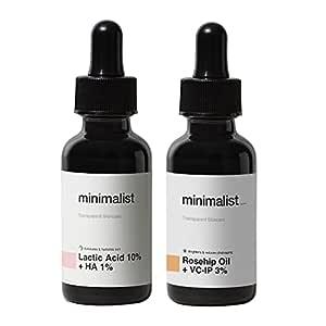 Minimalist De Tan Kit For Men & Women   Lactic Acid (AHA) Exfoliating Serum & Rosehip Oil + Vitamin C Glow Serum Combo