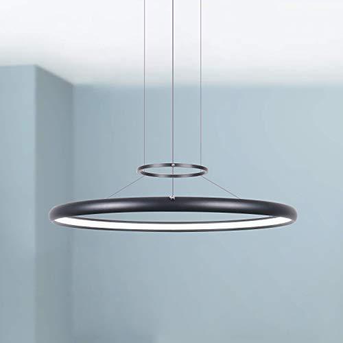 Noir circulaire LED Lustre Pendant Moderne Plafond Contemporain Suspendu Luminaire 60 cm Large 3.5 cm Haut Blanc Chaud 3000K