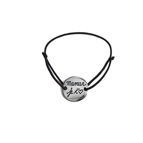 bracelet-cordon-reglable-elastique-medaille-maman-je-taime-metal-argente