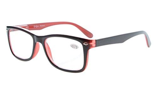 Eyekepper Leser Federscharniere Qualität klassischen Vintage Stil Lesebrille Schwarz-Rot +2.25