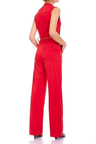 Laeticia Dreams Damen Overall Jumpsuit mit Gürtel S M L XL Rot