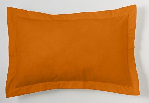 ESTELA - Funda de cojín Combi Lisos Color Ocre - Medidas 50x75+5 cm. - 50% Algodón-50% Poliéster...