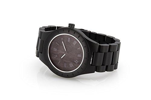 James Walke für jung gebliebende Menschen Armbanduhr aus feinem Kristalglas und aus kompletten Holzband MIYOTA Schwarz