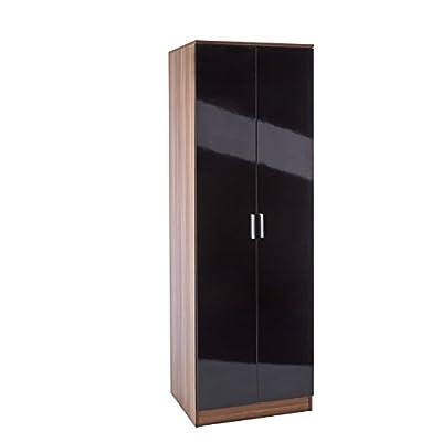 Black walnut wardrobe high gloss bedroom furniture 2 door unit - cheap UK light store.