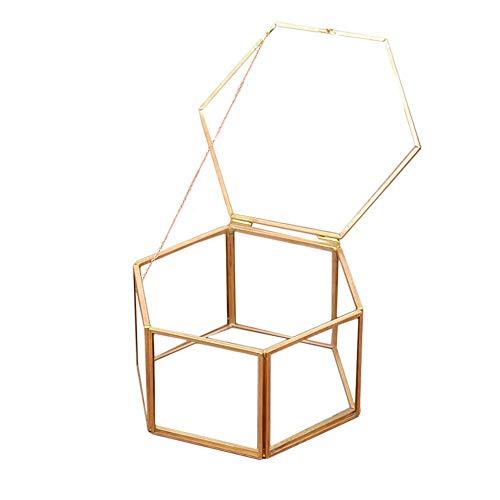 BHDYHM Glas Schmuck Display Aufbewahrungsbox Tray Case Organizer Geometrische Ring Box Einzigartige Hochzeit Gunsten Party Dekorationen