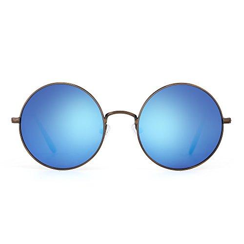 Jm retro tondo metallo occhiali da sole donne maschi uomo flash specchio riflessivo cerchio lente uv400 (bronzo/revo blu)