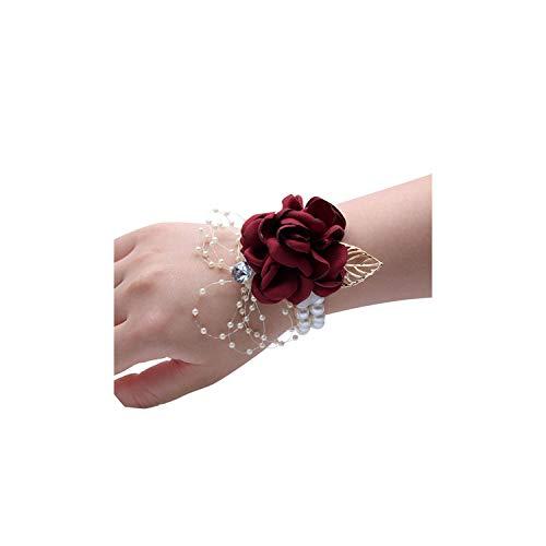 Tiamo Violette Perle Hand Dekor Corsages Bridesmaid Tanz Braut Armband Wrist Blume, weinrot - Womens Kirche Anzüge