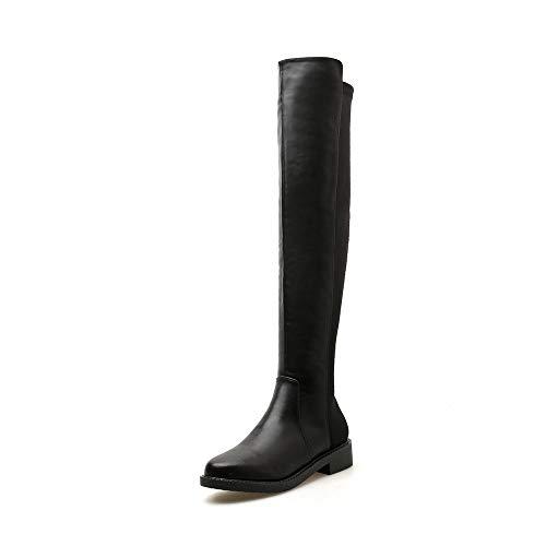 Sakuldes Damen-Overknee-Stiefel mit flachem Absatz und flachem Absatz (Color : Black, Size : 35)