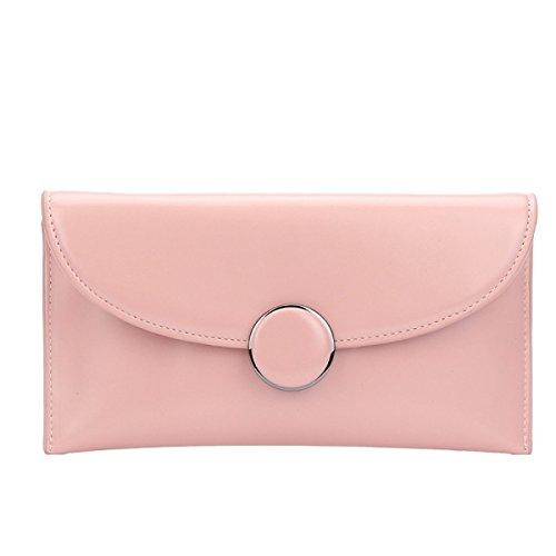Il Nuovo Sacchetto Della Busta Moda Fibbia Rotonda Frizione Catena Spalla Diagonale Personalità Borse Pink