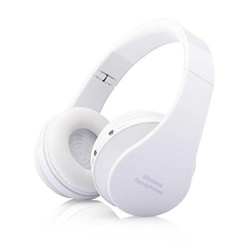 Fulltime® Pliable stéréo sans fil Bluetooth mains libres Casque micro pour iPhone, Samsung Galaxy, HTC, etc. (blanc)