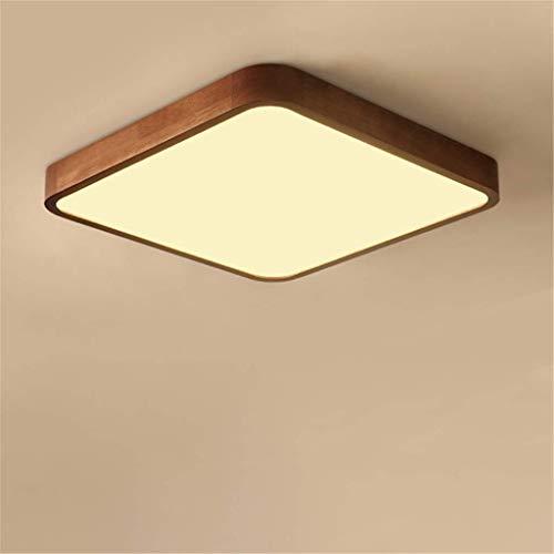 Gmadostoe Einbauleuchten Kronleuchter, Retro Wood Square Kitchen Light, Deckenleuchte Wood Lamp Dimmbar mit Fernbedienung Oak Deckenleuchte,warmlight,50cm (Light Einbauleuchte Square)