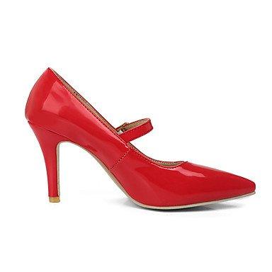 Talloni delle donne Primavera Estate Autunno Altro Patent Leather ufficio & carriera di feste ed abito da sera tacco a spillo con fibbia Nero Rosa Rosso Beige Black