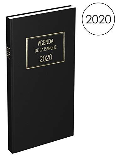 Lecas 100735520 Banquier Long Agenda 2020 avec 2 Pages par Jour 15 x 34cm 768 Pages Couverture Noir