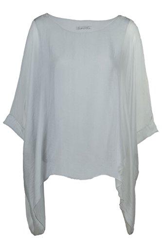 Seidentunika für Damen Made in Italy lang Fledermaus-Ärmel Grau 38-44