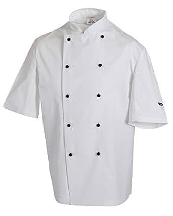 Dennys Quality Lightweight Short Sleeve Chefs Jacket, White, XX-Small