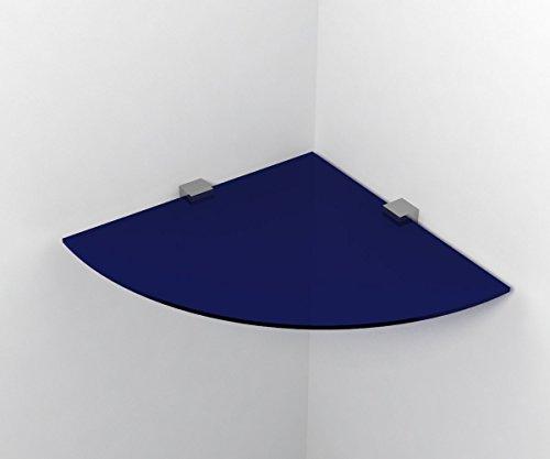 Ve.ca-italy mensola in vetro ad angolo (blu) 35x35 cm spessore 6mm inclusi due supporti cromo 100% made in italy