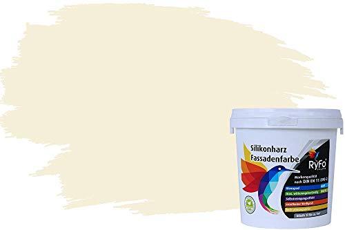 RyFo Colors Silikonharz Fassadenfarbe Lotuseffekt Trend Weißtöne Alabasterweiß 1l - bunte Fassadenfarbe, weitere Weiß Farbtöne und Größen erhältlich, Deckkraft Klasse 1