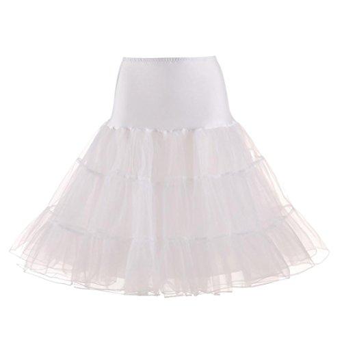 DAY.LIN Petticoat Kleid Rock Damen Rockabilly Kleid Frauen Hohe Qualität Hohe Taille Gefaltete Kurzen Rock Erwachsenen Tutu Tanzen Rock (Weiß, M)