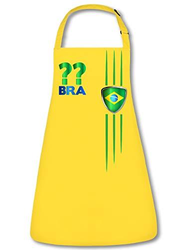Brasilien Brazil Brasil Wunsch Zahl ohne Name Fan Artikel 3212 Fuss Ball WM 2022 Unisex Koch Latz Küchen Trikot Look Grill Schürze Gaucho Gelb